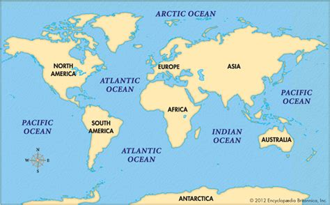 oceans map encyclopedia children s homework help dictionary britannica