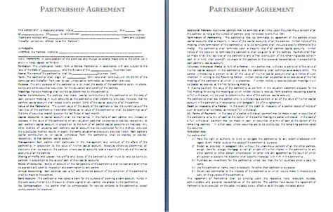 partnership agreement template partnership agreement template free agreement and