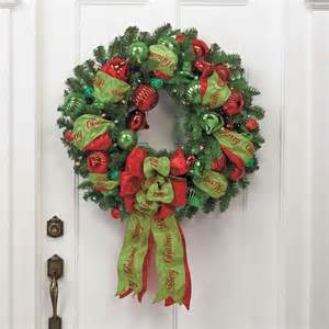 designer decorated red green outdoor wreath frontgate