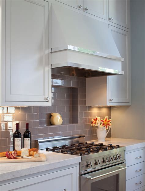 Grey Kitchen Backsplash by Grey Subway Tile Backsplash Contemporary Kitchen