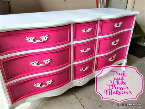 pink and white dresser makeover 24 cottonwood