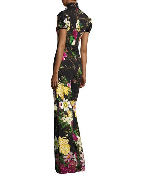 Andina Jumpsuit Bu Unique naeem khan sleeve mock neck floral jumpsuit black pattern