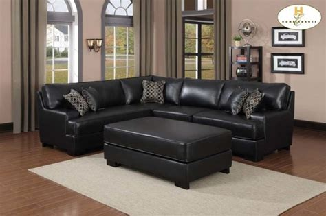 pillows on black leather couch homelegence modern black leather sectional sofa corner