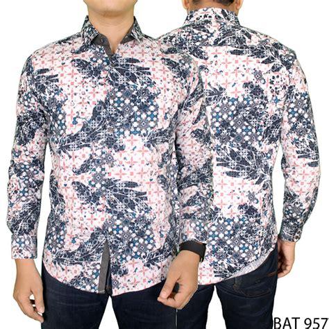 Kemeja Pria Batik Bat 790 kemeja batik pria lengan panjang eksklusif katun biru krem bat 957 elevenia