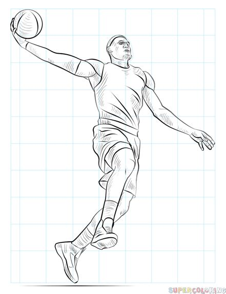 Basketball Player Drawing how to draw a basketball player dunking step by step