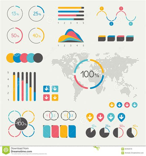 The Truthful Data Charts And Maps For Communication Ebook set of infographics elements chart graph timeline speech pie chart map stock