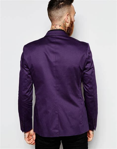 Asos Blazer In Cotton asos blazer in cotton in purple for lyst