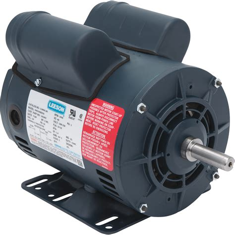 leeson compressor duty electric motor 5 hp 3 600 rpm 230 volts single phase model 111275
