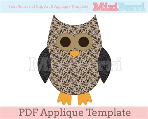 Owl Applique Template by Applique Template Owl Pdf On Luulla