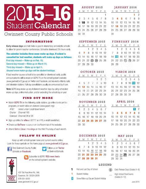 Paulding County School Calendar Gwinnett County Calendar 2015 2016 Calendar Template 2016