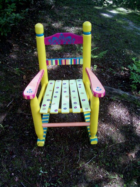 Painted Childrens Chairs childrens rocking chair painted yellow and pink striped