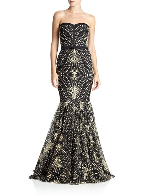 black beaded gown lyst badgley mischka caviar beaded strapless gown in black