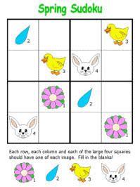 printable easter sudoku spring sudoku puzzles sudoku pinterest spring math