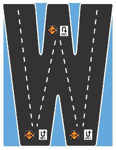 highway letters free printable drive the alphabet highway letter w road collection