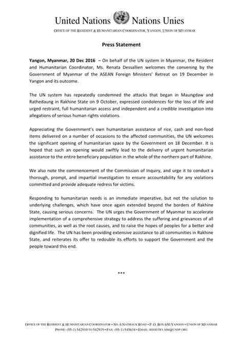 press statement template myanmar press statement 20 december 2016 myanmar