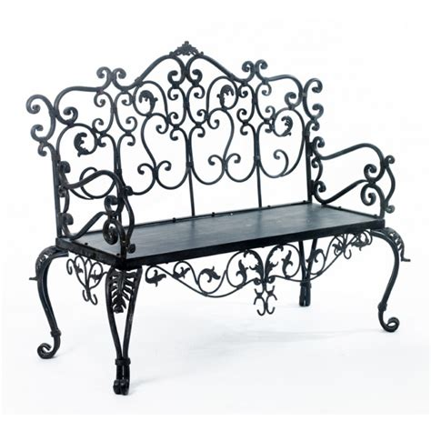 wrought iron bench uk ornate hall scroll effect wrought iron bench black