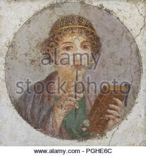 fresco young women portrait of sappho from pompeii national