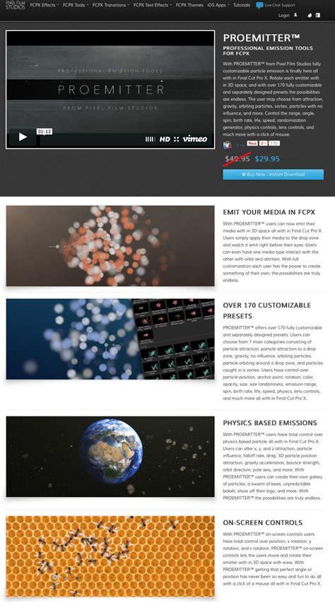 final cut pro x plugins pixel film studios released proemitter plugin for final