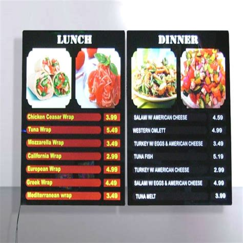 restaurants with light menus led menu display ledpro