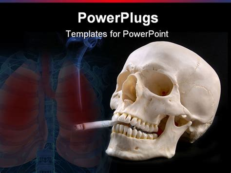 powerpoint template a skull with a cigarete and lungs in