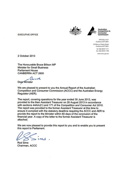 Annual Report Letter From Executive Director Accc Aer Annual Report 2012 13 Letters Of Transmittal Accc