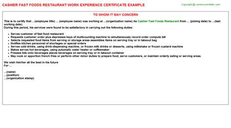 Experience Letter Restaurant Cashier Fast Foods Restaurant Work Experience Certificate