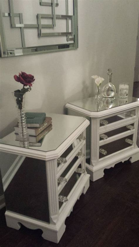 Mirrored Nightstand Sales by Sale Mirrored Nightstand Set White With Trim Glamorous