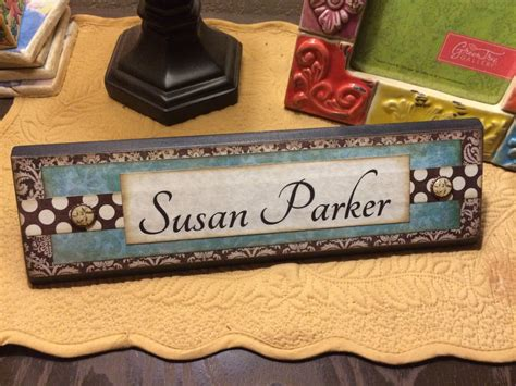 Unique Wooden Office Desk Name Plate Plaque Block