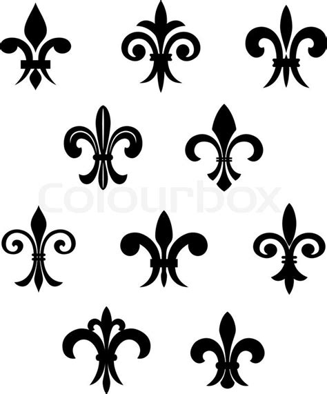 royal french lily symbols for design and decorate stock
