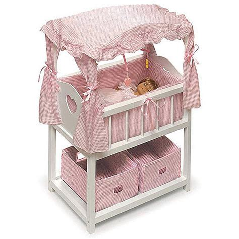 Doll Canopy Bed Bedding Childs Doll Canopy Crib Bed Bedding Set 4 American Ebay