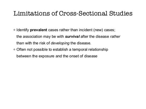 Limitation Of Cross Sectional Study by Sams Ebm Course Observational Study Designs