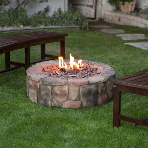 outdoor fire pit natural gas backyard patio deck stone