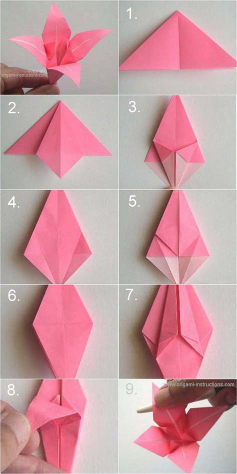 How To Make Paper Lilies - step by step kusadama flower origami diy tutorial dim