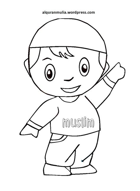 Anak Muslim Sketsa Bunga Hitam Putih Holidays Oo