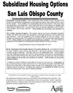 section 8 housing san luis obispo senior resource guides and other publications