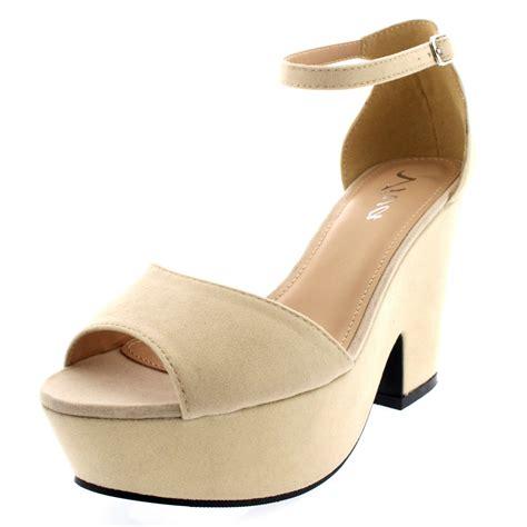 chunky heel high heels womens chunky heel platform ankle evening faux suede