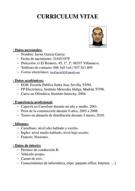 Plantilla De Curriculum Vitae Simple Para Trabajo Cv Ejemplo 1