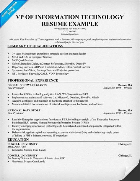 information technology resume example resume entry level information