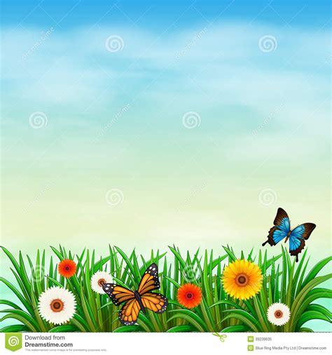 flower garden with butterflies a flower garden with butterflies stock vector image