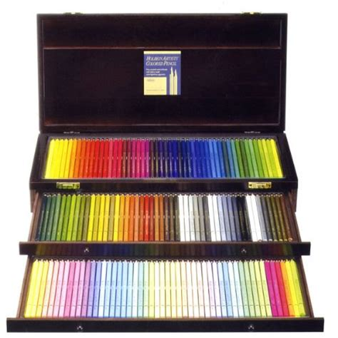 colored pencils set 150 color wood box set holbein colored pencil nib ebay