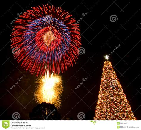 christmas tree fireworks eve lights santa stock image