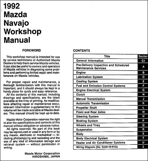 auto repair manual online 1992 mazda 929 free book repair 1992 mazda navajo repair shop manual original 92 workshop