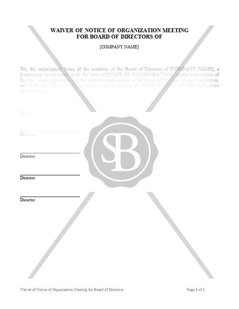 Starting Business Helping Businesses Get Up And Running Waiver Of Notice Of Board Meeting Template