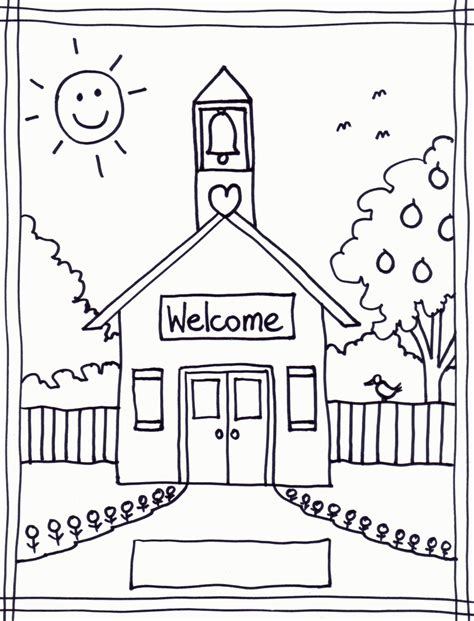 coloring page of school building black and white school building clipart clipart kid