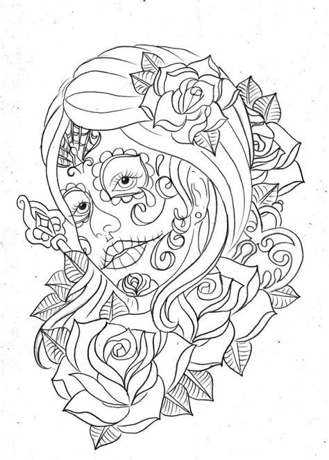 day of the dead art coloring pages free print doodle pages day of the dead coloring page