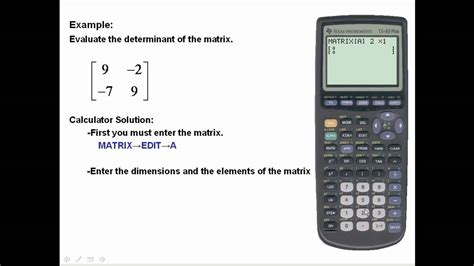 calculator determinant find determinants using the ti 83 84 youtube