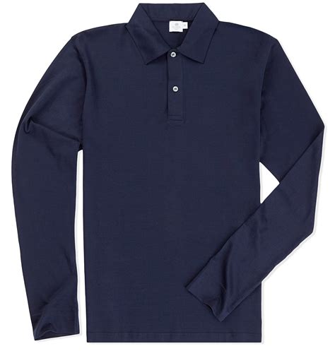Polo Longsleeves Shirt sunspel s staple cotton sleeve jersey polo shirt in blue for lyst