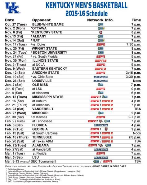 Uk Basketball Schedule March 2015 | kentucky wildcats printable basketball schedule calendar