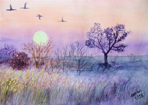 imagenes de paisajes en acuarela anochece en el co acuarela por cefo40 dibujando