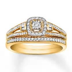 gold wedding set jared bridal set 1 5 carat tw 10k yellow gold